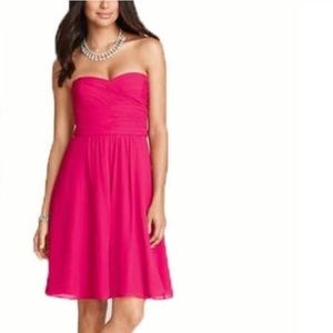 Ann Taylor Hot Pink Georgette Formal Dress 8